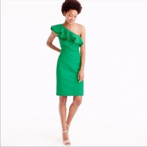 NWT J. Crew one shoulder green dress